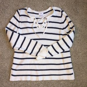 Old Navy Blue & White Striped Sweater. Size Large.